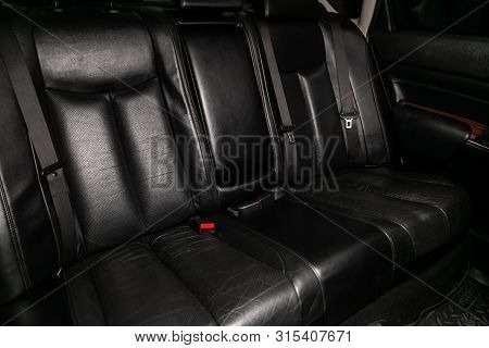 Novosibirsk, Russia - July 12, 2019:   Nissan Teana, Close-up Of The Black Leather  Rear Seats With