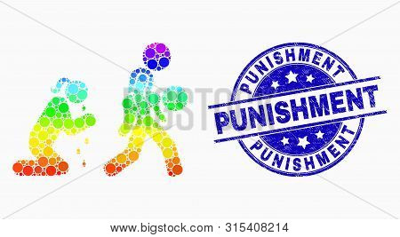 Pixelated Bright Spectral Juvenile Justice And Mother Mosaic Icon And Punishment Stamp. Blue Vector