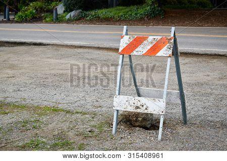 Orange And White Diagonal Striped Construction Barricade, Type 2 Barricade