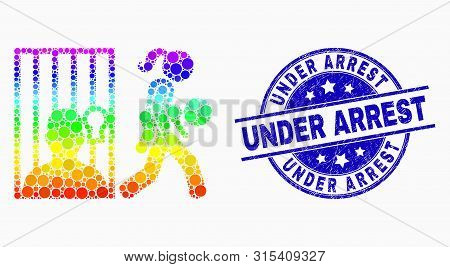 Pixelated Bright Spectral Juvenile Justice Mosaic Icon And Under Arrest Watermark. Blue Vector Round