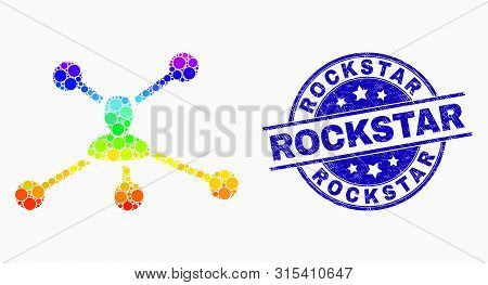 Pixel Bright Spectral User Links Mosaic Pictogram And Rockstar Seal Stamp. Blue Vector Rounded Grung