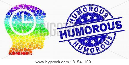 Dotted Spectral Time Thinking Mosaic Pictogram And Humorous Seal Stamp. Blue Vector Round Distress S