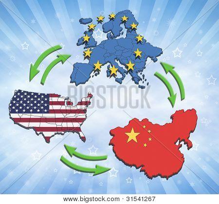 USA, Europa och Kina Interatction.
