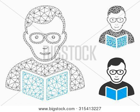 Mesh Reader Student Model With Triangle Mosaic Icon. Wire Frame Polygonal Mesh Of Reader Student. Ve