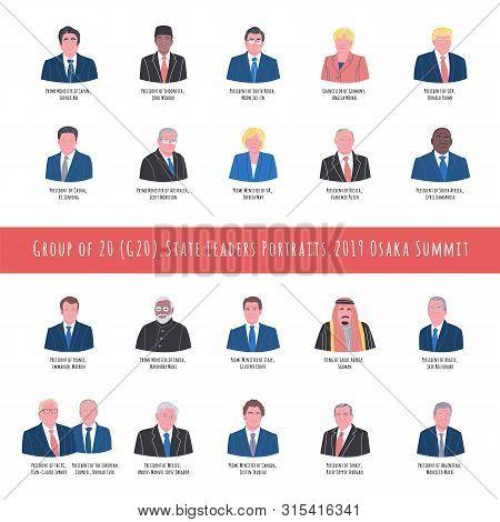 2019 Osaka Summit Hand Drawn Vector Illustration. State Leaders Portraits Set. Group Of Twenty, G20.