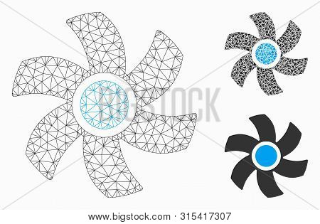 Mesh Rotor Model With Triangle Mosaic Icon. Wire Carcass Polygonal Mesh Of Rotor. Vector Collage Of