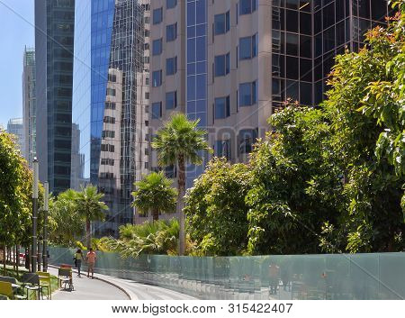 San Francisco, California - August 04, 2019: People Walking In Salesforce Transit Center Roof Garden
