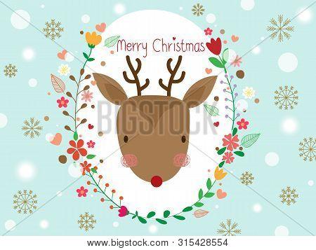 Cute Reindeer In Floral Frame Or Flower Wreath Look So Sweet. Sweet Reindeer On Pastel Blue Sky Back