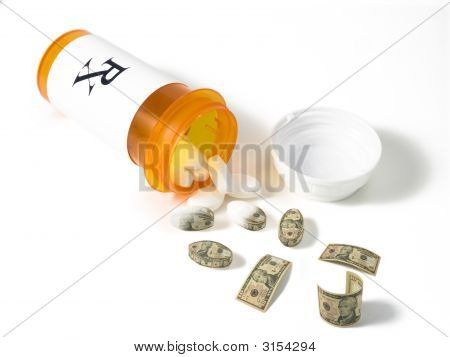 Bottle Of Pills Into Money
