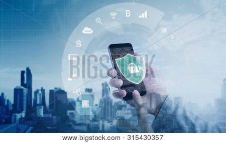 Mobile Application And Online Data Security System. Hand Using Mobile Smart Phone With Lock And Appl