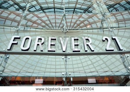 Szczecin,poland. 2 August 2019.  Sign Forever 21. Company Signboard Forever 21.