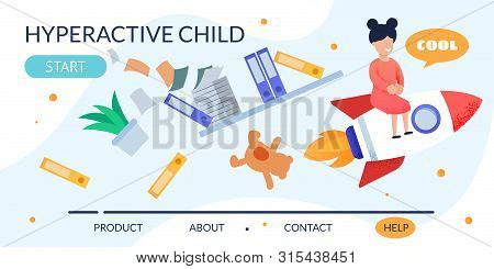 Cartoon Hyperactive Child On Rocket With Things In Mess. Metaphor Flat Design Landing Page. Naughty