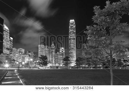 Skyline Of Downtown Of Hong Kong City At Night