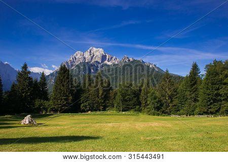 Panoramic View Of Julian Alps Near Podkoren In Slovenia