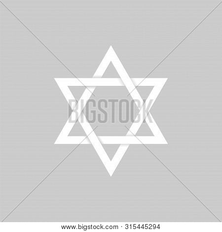 White Paper Star Of David Icon. Six Pointed Geometric Star Figure, Generally Recognized Symbol Of Mo