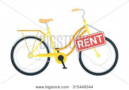Bicycle Rental Service Vector Illustration. Modern Business, Public Bike Sharing. Cruiser Cycle With