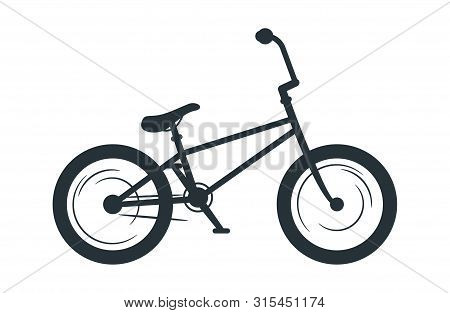 Bmx Bicycle Vector Silhouette Illustration. Eco Friendly Vehicle, Transport Black Monochrome Icon. A