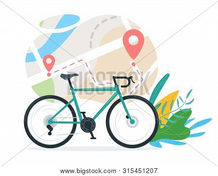 Urban Travel, Transportation Vector Illustration. Cruiser Bike, Map With Start And Finish Markers. G