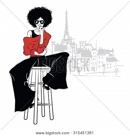 Fashion Girl In Sketch Style On A White Background.