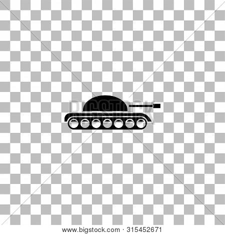 Tank Army. Black Flat Icon On A Transparent Background. Pictogram For Your Project