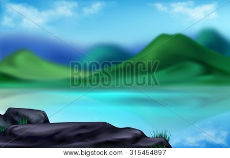 Mountain Landscape, Nature At Summer Time, Blurred Background, Beautiful Green Hills, Lake And Stone