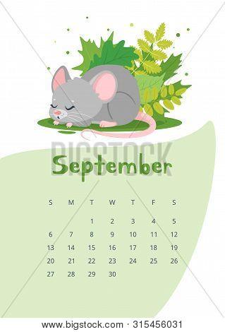 September Calendar Flat Vector Template. Children Planner For Autumn 2020. Basic Grid Design With Ma