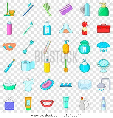 Hygiene Icons Set. Cartoon Style Of 36 Hygiene Vector Icons For Web For Any Design