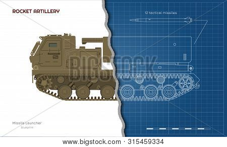 Outline Blueprint Of Missile Vehicle. Rocket Artillery. Side View. 3d Drawing Of Military Tractor Wi