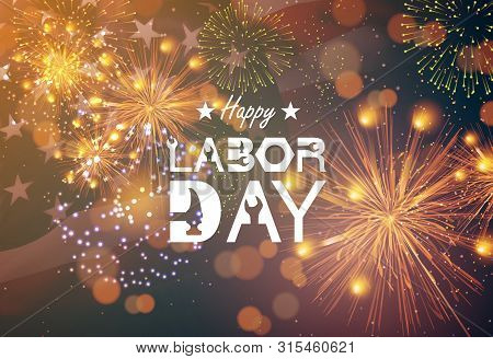 Poster For Labor Day Usa. Happy Labor Day Banner, American Patriotic Background - Vector