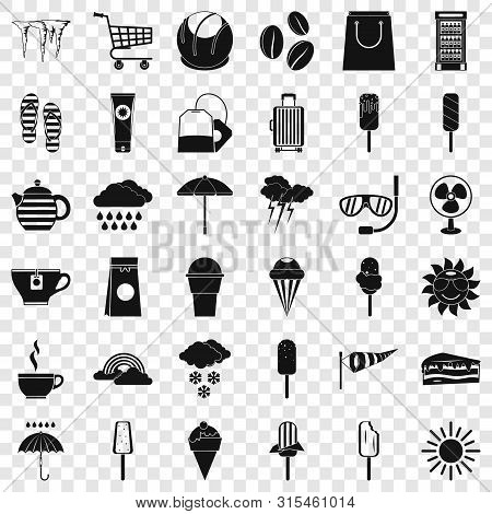 Teabag Icons Set. Simple Style Of 36 Teabag Vector Icons For Web For Any Design
