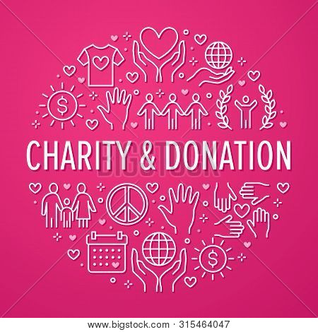 Charity Vector Circle Banner With Flat Line Icons. Donation, Nonprofit Organization, Ngo, Giving Hel