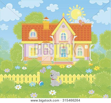 Colorful Village House And A Cute Grey Pup Watching Funny Butterflies Flittering Among Flowers On Gr