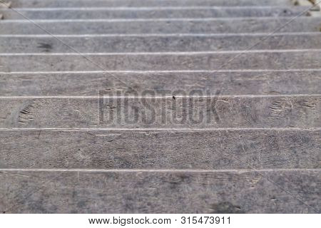 In Selection Focus Of An Old Wooden Stairs In A House For Background Backdrop