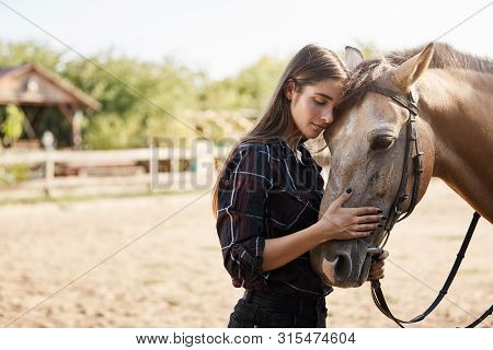 Care, Tenderness And Animals Concept. Lovely And Carefree Tender Young Woman In Checked Shirt, Lean