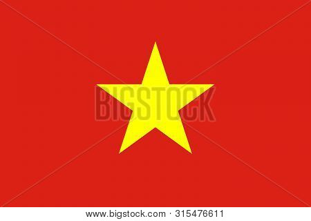 Vietnam Vector Flag. The Flag Of Vietnam, Red Flag With A Gold Star. Hanoi