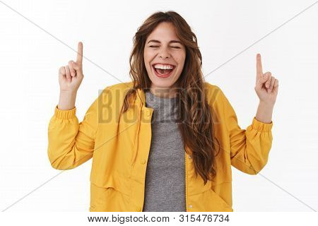 So Awesome Finally Vacation. Cheerful Amused Happy Attractive Young Woman Receive Incredible Pleasan