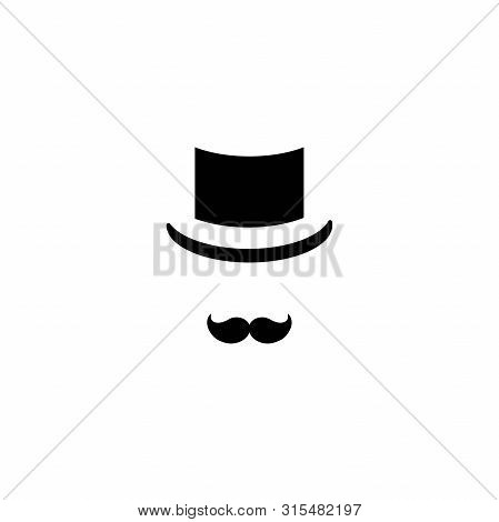 Gentleman Icon Isolated On White Background. Silhouette Of Man S Head With Moustache And Bowler Hat.