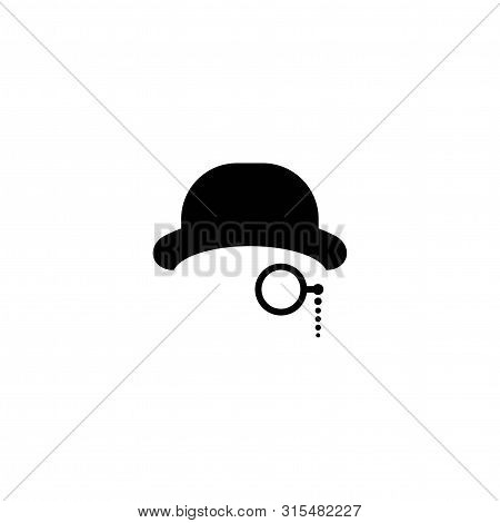 Gentleman Icon Isolated On White Background. Silhouette Of Mans Head With Moustache, Lorgnette Glass