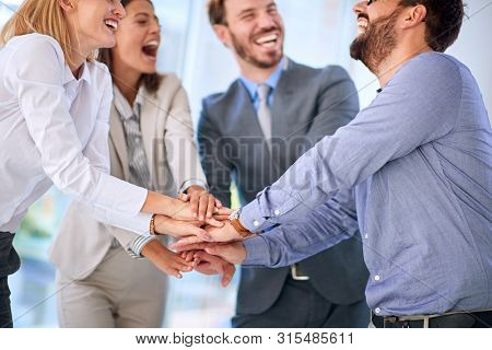 Teamwork - successfully completed business meeting