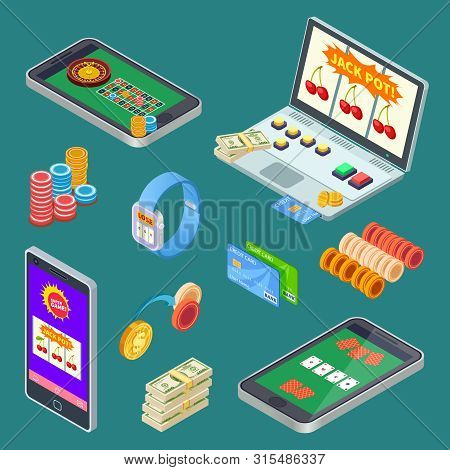 Online Gambling, Casino App Isometric Vector Elements. Illustration Casino Gambling Game, Poker And
