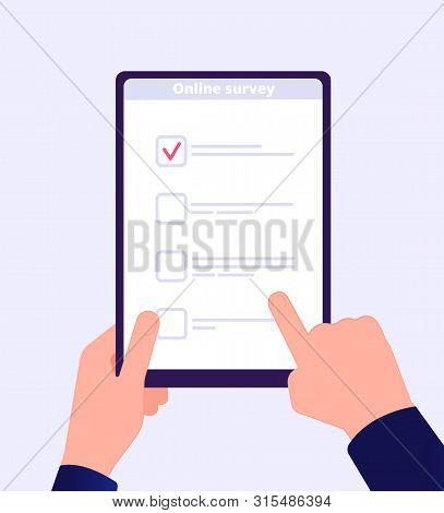 Online Survey. Internet Surveying List Hand Holding Tablet Web Test Form. Mobile Questionnaire Custo