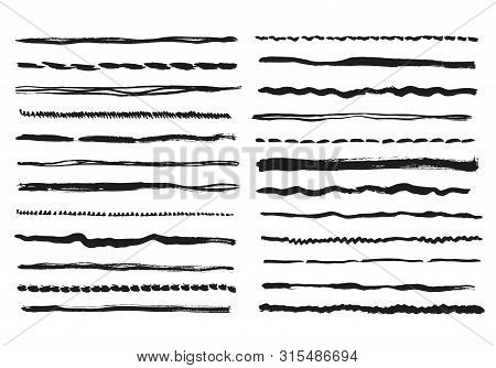Pencil Lines. Texture Doodle Freehand Line Strokes Chalk Scribble Black Line Sketch Grunge Borders H