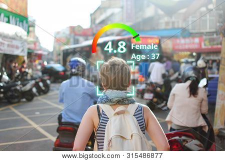 Social Credit Score Concept, Ai Analytics Identify Person Technology, Intelligent Rating, Reputation