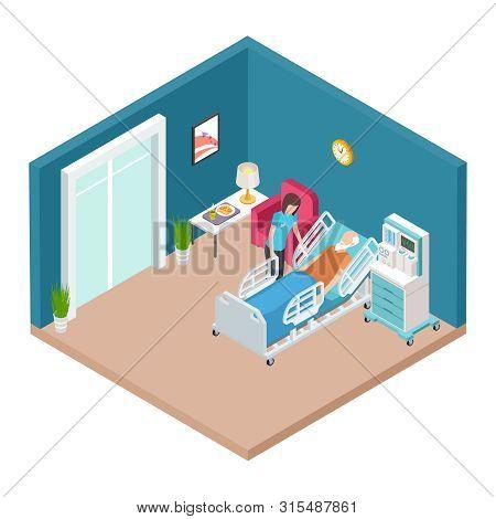 Hospital Ward, Resuscitation Interior Vector. Isometric Nurse Caring For Older Man. Illustration Of