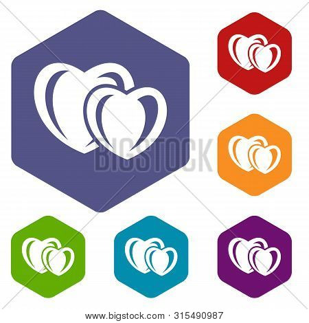 Heart Love Icons Colorful Hexahedron Set Collection Isolated On White