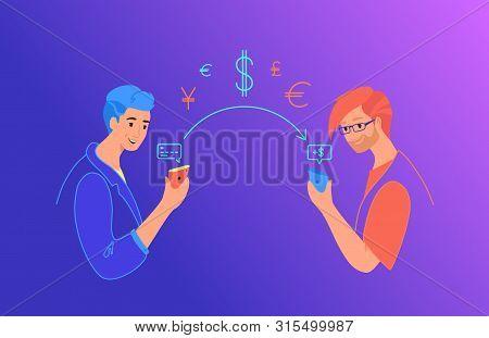 Send Money Gradient Vector Neon Illustration For Web And Mobile Design. Man Sending Money From Credi
