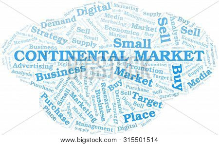 Continental Market Word Cloud. Vector Made With Text Only