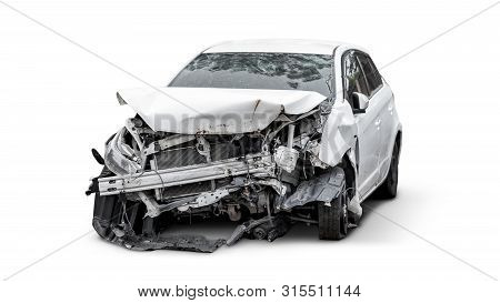 Carcass Of White Broken Crashed Car Isolated On White Background With Clipping Path, Car Accident In