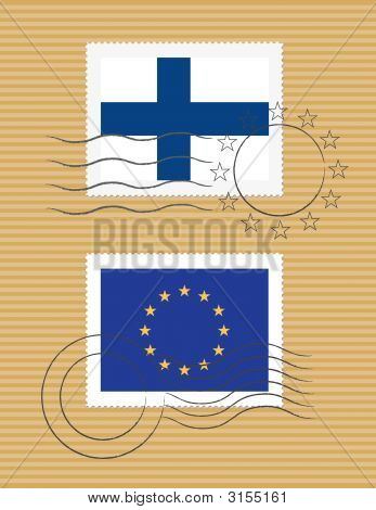 Finland And European Union - Stamps With Flag