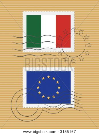 Italy And Eu - Stamps With Flag